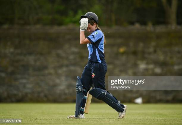 Dublin , Ireland - 9 May 2021; Sarah Forbes of Typhoons walks after being ran out during the third match of the Arachas Super 50 Cup between...