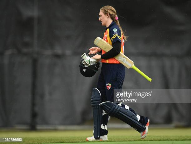 Dublin , Ireland - 9 May 2021; Shauna Kavanagh of Scorchers walks after being caught out during the third match of the Arachas Super 50 Cup between...