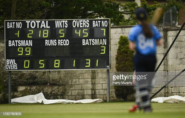 Dublin , Ireland - 9 May 2021; The scoreboard is seen as Orla Prendergast of Typhoons waits to reach her 100 during the third match of the Arachas...