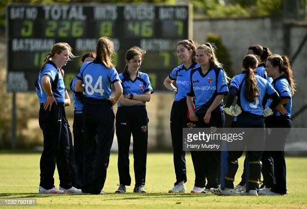 Dublin , Ireland - 9 May 2021; Typhoons players during the third match of the Arachas Super 50 Cup between Scorchers and Typhoons at Rush Cricket...
