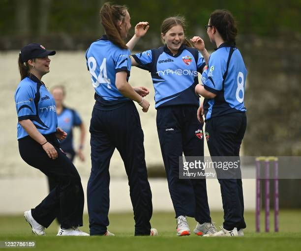 Dublin , Ireland - 9 May 2021; Typhoons players, from left, Maria Kerrison, Orla Prendergast, Zara Craig and Jane Maguire during the third match of...