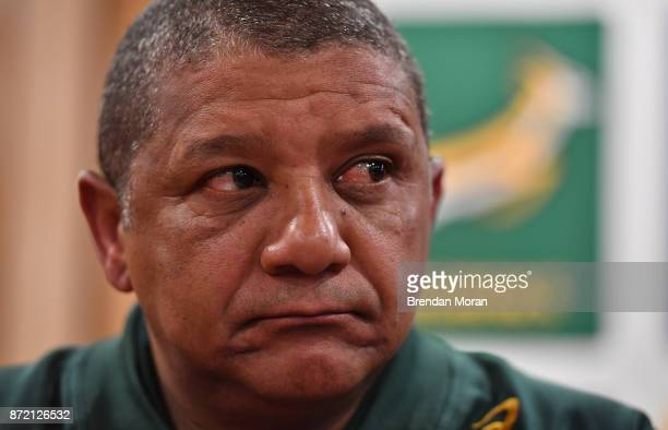 Dublin Ireland 9 November 2017 Head coach Allister Coetzee during a South Africa Press Conference at Radisson Blu Hotel in Stillorgan Dublin