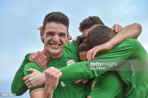 Dublin Ireland 9 October 2017 Declan Rice of Republic of Ireland celebrates with his teammates after Reece GregoCox's hatrick against Israel during...