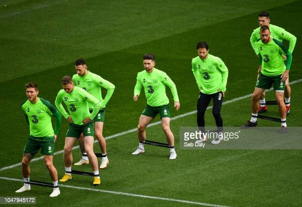 Dublin Ireland 9 October 2018 Republic of Ireland players from left Jeff Hendrick Aiden O'Brien Alan Browne Sean Maguire Harry Arter Richard Keogh...