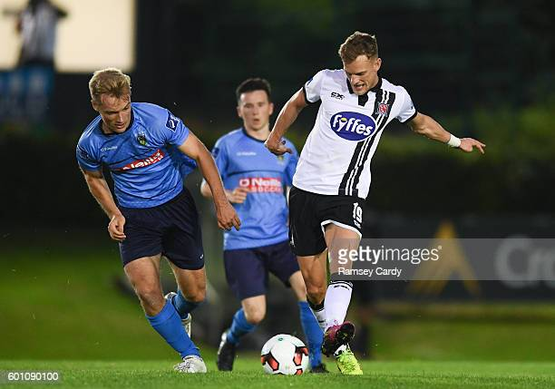 Dublin Ireland 9 September 2016 Dean Shiels of Dundalk is tackled by Greg Sloggett of UCD during the Irish Daily Mail FAI Cup QuarterFinal match...