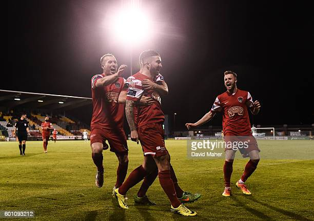Dublin , Ireland - 9 September 2016; Sean Maguire of Cork City celebrates after scoring his side's fifth goal with team mates Stephen Dooley and...
