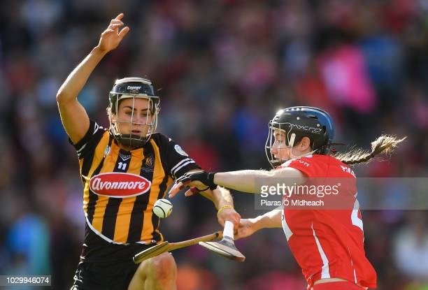 Dublin Ireland 9 September 2018 Katie Power of Kilkenny in action against Pamela Mackey of Cork during the Liberty Insurance AllIreland Senior...