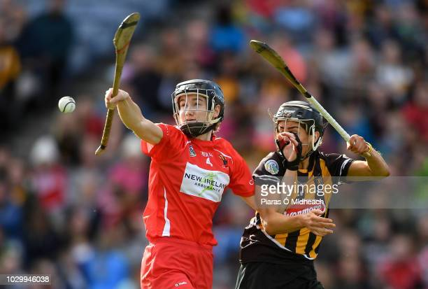 Dublin Ireland 9 September 2018 Pamela Mackey of Cork in action against Katie Power of Kilkenny during the Liberty Insurance AllIreland Senior...