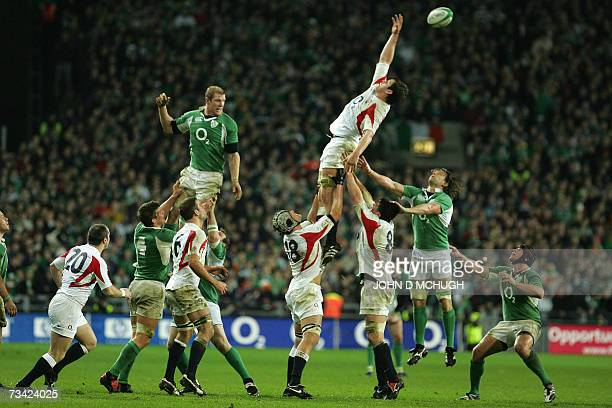 England's forwards fail to claim the ball from a lineout during the 6 Nations Rugby union game between Ireland and England at Croke Park stadium 24...