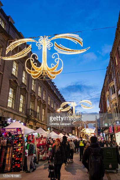 dublin, ireland - henry street at christmas - henry street stock pictures, royalty-free photos & images