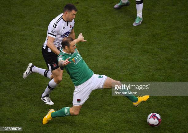Dublin Ireland i4 November 2018 Karl Sheppard of Cork City in action against Brian Gartland of Dundalk during the Irish Daily Mail FAI Cup Final...