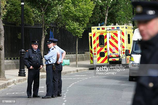 Irish Police patrol outside St Patricks Cathedral Church of Ireland in Dublin 20 MAY 2006 where 43 Afghan refugees are held up on hungerstrike Irish...
