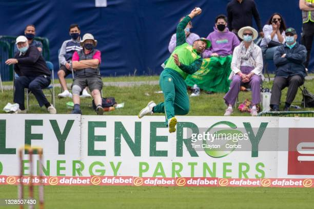 Dublin, Ireland July 11. Aiden Markram, #4 of South Africa makes a fine catch on the boundary from the batting of George Dockrell of Ireland but then...
