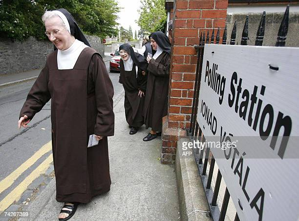 Roman Catholic nuns leave a polling station after casting their ballots at the Drumcundra Primary School in Dublin in Ireland 24 May 2007 Irish...