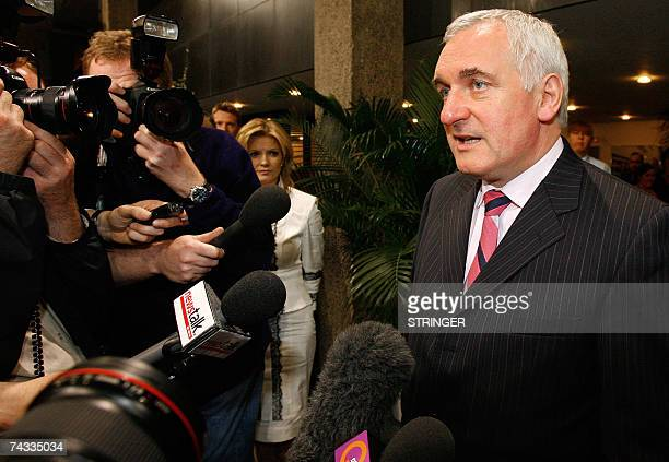 The Irish Prime Minister and Fianna Fail leader Bertie Ahern talks to the press outside the RTE televison studio in Dublin, 26 May 2007 after a...