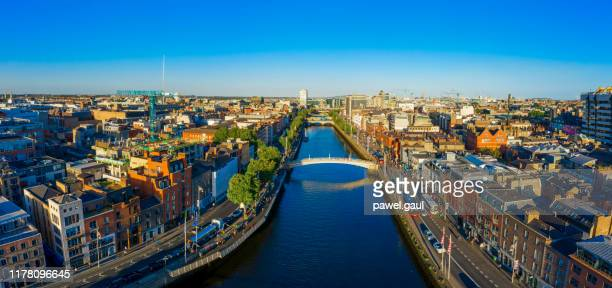 dublin ireland with liffey river aerial view - city stock pictures, royalty-free photos & images