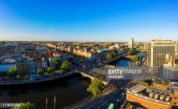 dublin ireland with liffey river aerial view - ireland stock pictures, royalty-free photos & images
