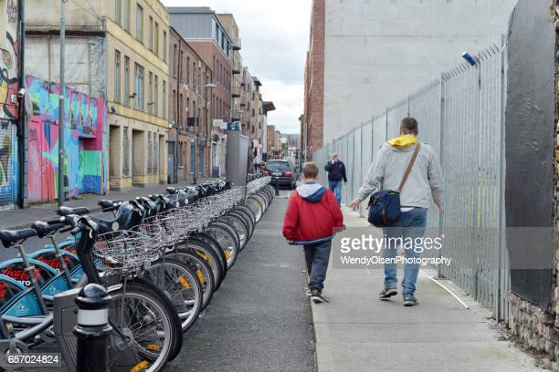 Dublin, Republic of Ireland,Ireland. September 30, 2016. Street scene in Dublin with bikes and people walking.