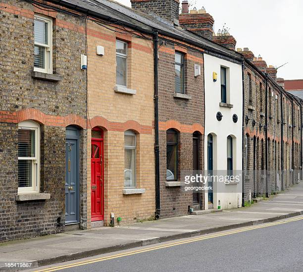 dublin residential street - terraced field stock pictures, royalty-free photos & images