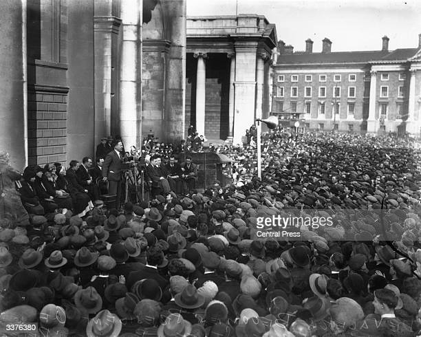 Dubliners celebrate the release of IRA men imprisoned at Arbour Hill Prison during the Irish Civil War De Valera's new Fianna Fail government...