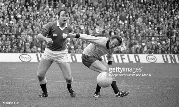 Dublin's Jimmy Keaveney and Galway's Jack Cosgrove tusle for the ball during the 1974 All-Ireland Football Finall at Croke Park, ...