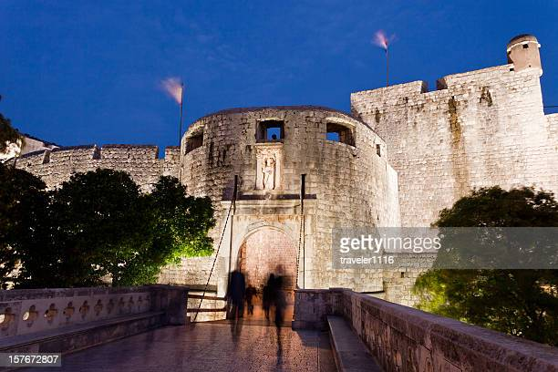 dubrovnik at night - fortified wall stock photos and pictures