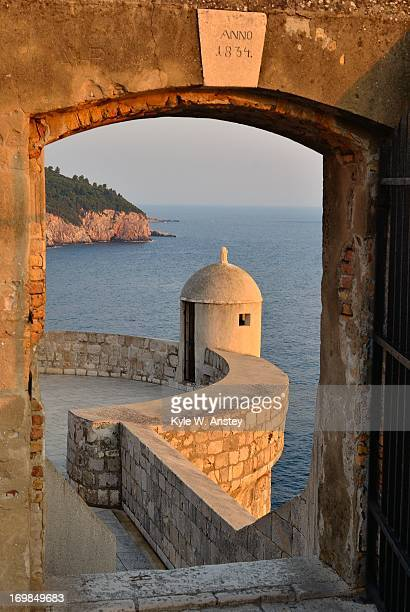 Dubrovnik doorway at sunset