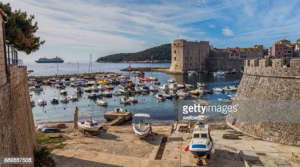 dubrovnik harbour panorama - historical geopolitical location stock photos and pictures