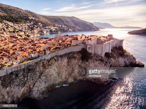 dubrovnik old town city walls aerial view - croatia stock pictures, royalty-free photos & images