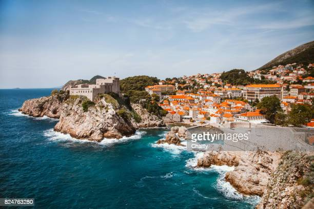 dubrovnik old town - fortified wall stock photos and pictures