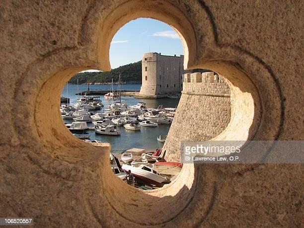 Dubrovnik view through quatrefoil