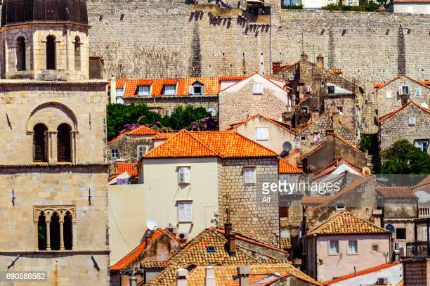 dubrovnik's clock tower and old town overview, croatia - limestone pavement stock pictures, royalty-free photos & images