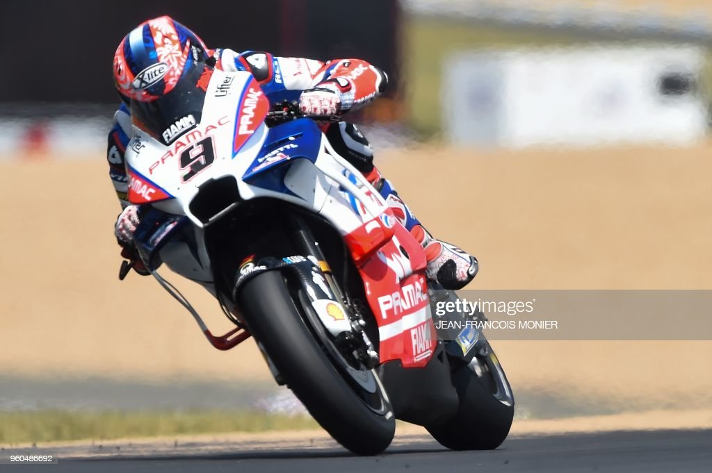 Ducati Alma Pramac Racing's Italian rider Danilo Petrucci competes during the MotoGP race of the French motorcycling Grand Prix on May 20, 2018, in Le Mans, northwestern France.