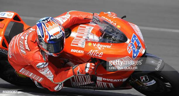 Ducati Australian rider Casey Stoner rides during a training session at the Jerez racetrack on March 29 2009 Yamaha Spanish rider Jorge Lorenzo...