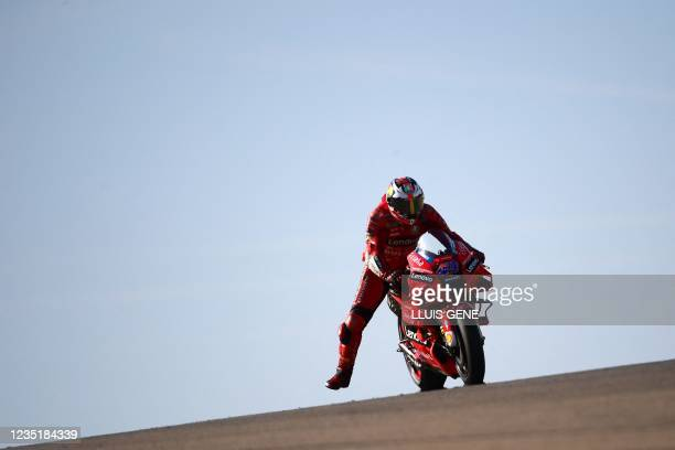 Ducati Australian rider Jack Miller rides his bike during the qualifying session for the Moto Grand Prix of Aragon at the Motorland circuit in...