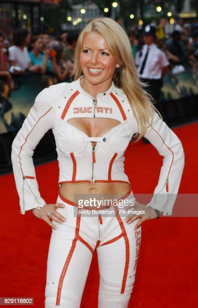 Ducati catsuit model Louise Brady arrives for the European premiere of Catwoman at the Vue cinema in Leicester Square central London