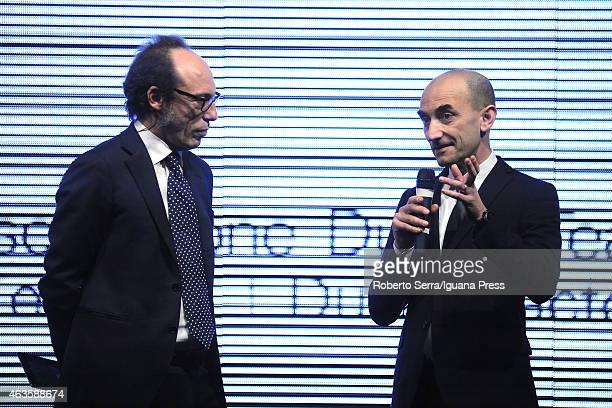 Ducati Motor CEO Claudio Domenicali and journalist Guido Meda unveil the Ducati Desmosedici Moto GP 2015 Championship at Ducati Factory on February...