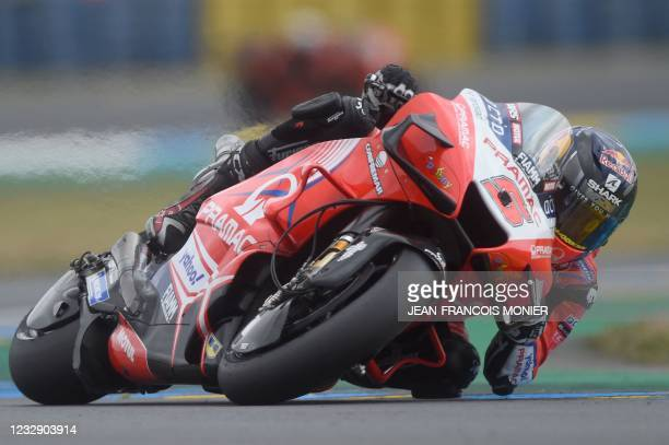 Ducati Pramac Racing French rider Johann Zarco steers his motorbike and clocked the fifth position in 1'32.877, ahaead of the French Moto GP Grand...