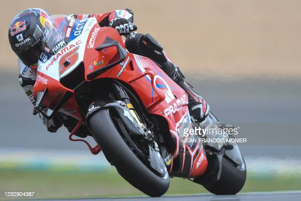 Ducati Pramac Racing French rider Johann Zarco steers his motorbike and clocked the fifth position in 1'32.877, during the Q2 qualifying session of...