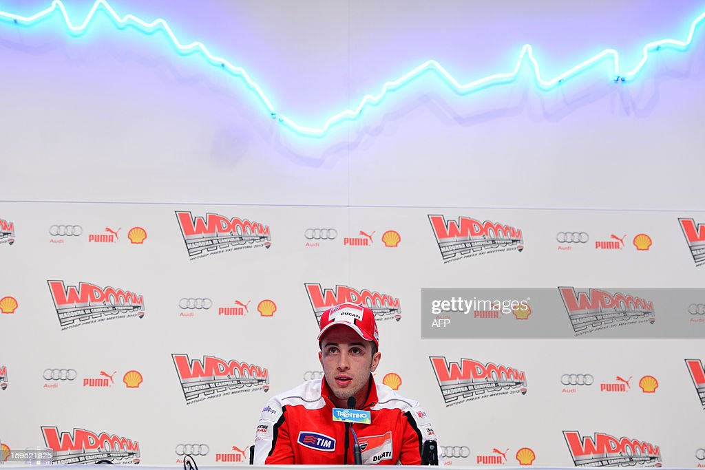 Ducati rider Andrea Dovizioso of Italy attends a press conference as part of Wrooom, F1 and MotoGP Press Ski Meeting, Ducati and Ferrari's annual media gathering, in Madonna di Campiglio, on January 15, 2013.
