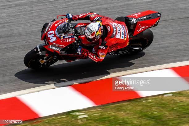 Ducati Team Italian rider Andrea Dovizioso takes a corner during the MotoGP preseason test at Sepang International Circuit on February 9 2020 in...