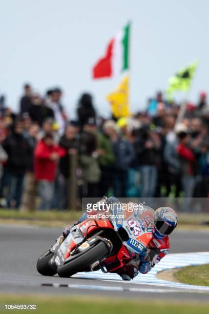Ducati Team rider Andrea Dovizioso at The 2018 Australian MotoGP on October 28 at The Phillip Island Circuit in Victoria Australia