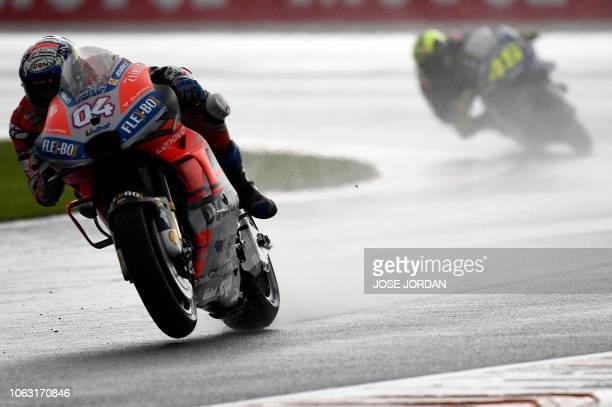 Ducati Team's Italian rider Andrea Dovizioso competes during the MotoGP race of the Valencia Grand Prix at the Ricardo Tormo racetrack in Cheste on...