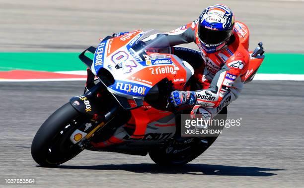 Ducati Team's Italian rider Andrea Dovizioso rides during the MotoGP fourth free practice of the Aragon Grand Prix at the Motorland racetrack in...