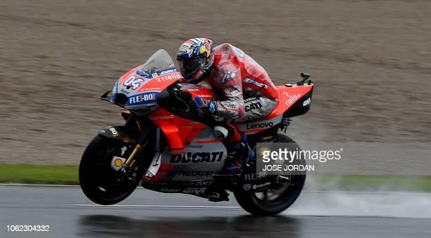 Ducati Team's Italian rider Andrea Dovizioso rides during the second free practice session of the MotoGP Valencia Grand Prix at the Ricardo Tormo...