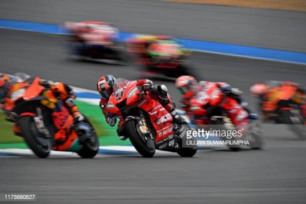 Ducati Team's Italian rider Danilo Petrucci rides during the third practice session of Thailand's MotoGP at Buriram International Circuit in Buriram...