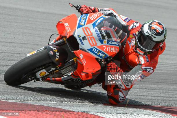 Ducati Team's rider Jorge Lorenzo of Spain rides his bike during the second day of the 2018 MotoGP preseason test at the Sepang International Circuit...