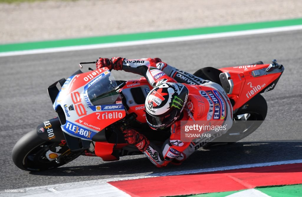 Ducati Team's rider Spanish Jorge Lorenzo races his bike during the warm up session of the San Marino MotoGP Grand Prix race at the Marco Simoncelli Circuit in Misano on September 9, 2018.