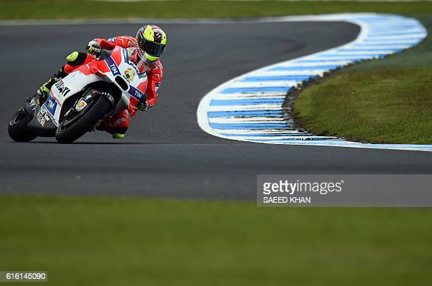 Ducati Team's Spanish rider Hector Barbera takes a corner during the practice session of the MotoGP class at the Australian Grand Prix at Phillip...