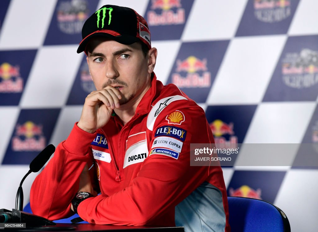 Ducati Team's Spanish rider Jorge Lorenzo attends a press conference during the Red Bull Grand Prix of Spain at Jerez de la Frontera race track on May 3, 2018.